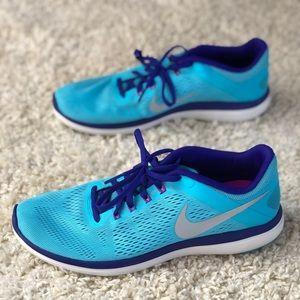 Nike Flex 2016 Run Blue Purple Mesh Running Shoes